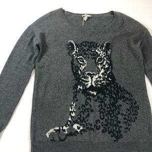 Joie Leopard Sweater Gray Size S